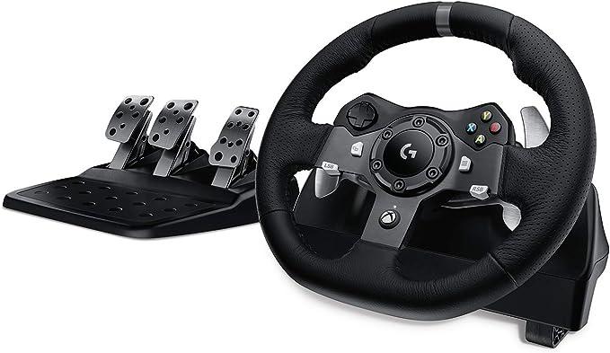 Logitech G920 Driving Force Volante de Carreras y Pedales, Force Feedback, Aluminio Anodizado, Palancas de cambio, Volante de Cuero, Pedales Ajustables, Enchufe EU, Xbox One/PC/Mac, Negro: Amazon.es: Informática