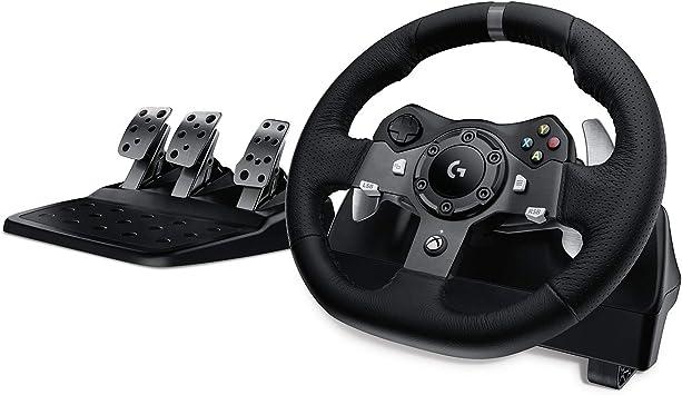 Oferta amazon: Logitech G920 Driving Force Volante de Carreras y Pedales, Force Feedback, Aluminio Anodizado, Volante de Cuero, Pedales Ajustables, Enchufe EU, Xbox One/PC/Mac, Negro