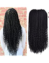 3Packs Curly Goddess Dreadlocks Faux Locs Crochet Hair Wavy Faux Locs with Curly Ends Synthetic Braiding Hair Extensions 18inch 24roots/pc (1B)