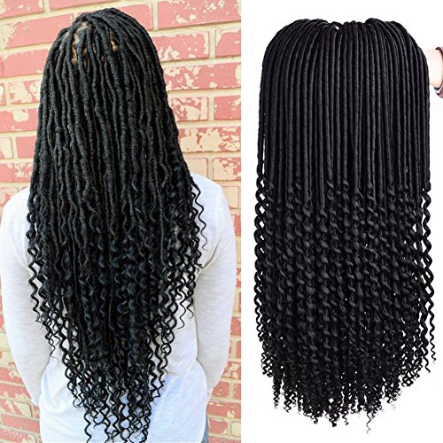 Price comparison product image 3Packs Curly Goddess Locs Faux Locs Crochet Hair Wavy Faux Locs with Curly Ends Synthetic Braiding Hair Extensions 18inch 24roots/pc (1B)