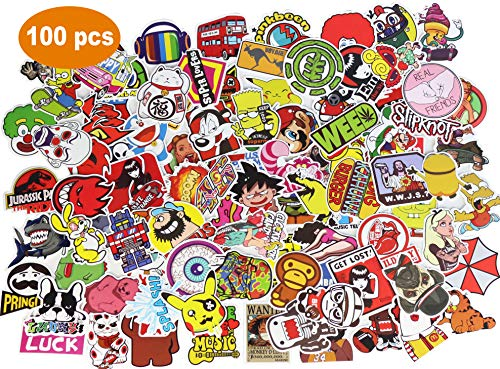 Upgraded Random Sticker 50-200pcs Music Film Vinyl, Laptop Skateboard Guitar Luggage Stickers, Car Motor Bicycle Stickers (A, 100 pcs) (Film Laptop Sticker)