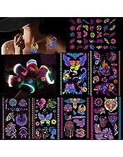 7 Large Sheets Neon Temporary Tattoos UV Jewellery Body Face Skin Shimmer Tattoo Stickers Waterproof Fake Tattoos for Women Men Girls Body Art