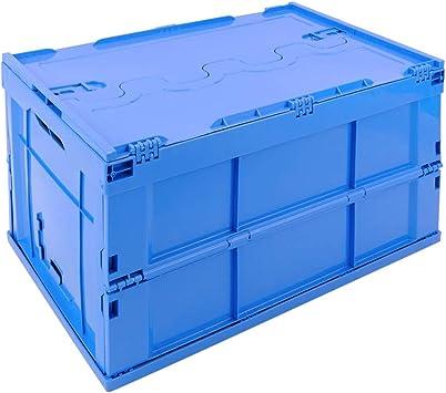 PrimeMatik - Caja de plástico EuroBox Plegable y apilable. Contenedor Azul con Tapa 60x40x32cm 65L: Amazon.es: Electrónica