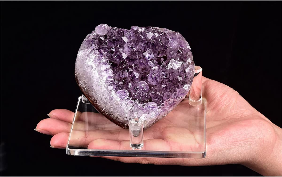 Amethyst Crystal Cluster Antiqued Wood Base S116TS-01 Crystals and Mineral Decoration Good Vibes Crystal Points Boho Home Decor