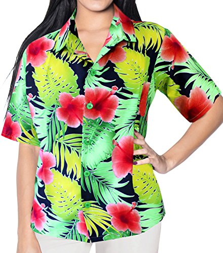 La Leela Likre Short Sleeve Button up Down Cruise Tropical Carribean Hibiscus Flower Floral Red (Tropical Floral Silk Skirt)