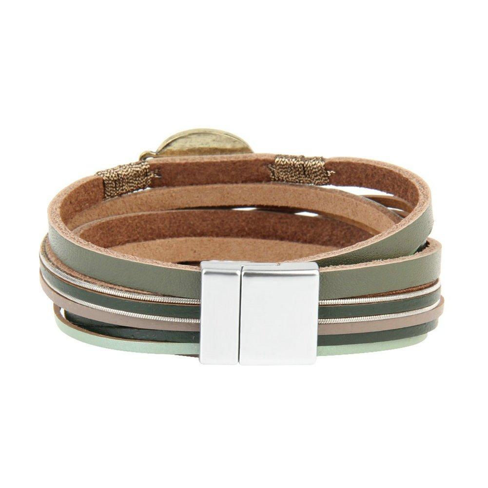 JOYMIAO Casual Bracelet en Cuir pour Femmes Cor/éennes Wrap Bracelets Wrap Multicouche Bracelet Manchette avec Magn/étique Boucle De No/ël Cadeau