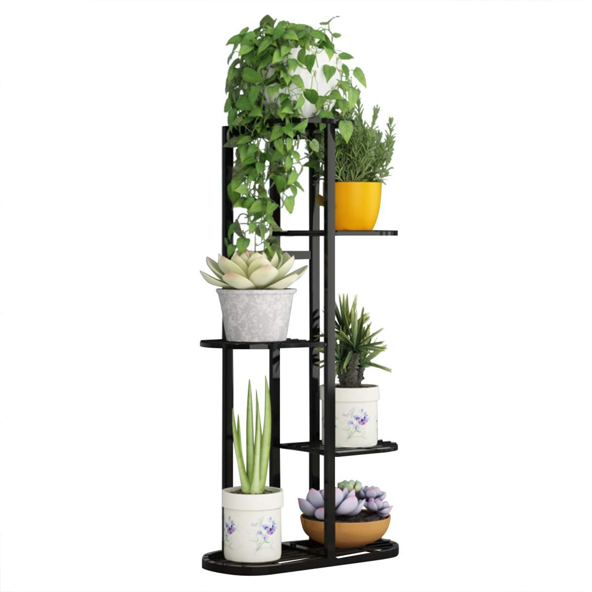 Indoor Planter Display Stand Rack 5 Tier Metal Plant Stand Flower Pots Holder (Black)