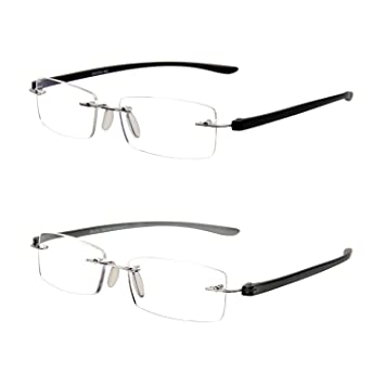 5791691dc64f LianSan Rimless Rectangle Lightweight Mens Womens Reading Glasses 2 Pack  with Magnification 1.0 1.5 2 00 2.50 3.0 3.5 4.0 L5017(+1.00)   Amazon.co.uk  Health ...