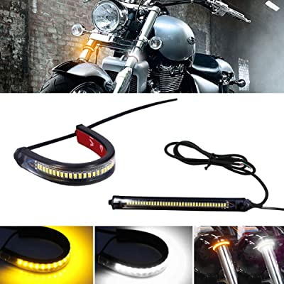 GTinthebox 2PC Flexible Switchback Dual-Color White & Amber LED Fork Turn Signal DRL Daytime Running Light Waterproof Adjustable Stips Bars kit Universal Fit Motorcycle Bike: Automotive