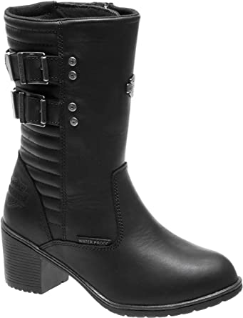 Harley Davidson Women's Kirkley 8 Inch Waterproof Black Motorcycle Boots D87143