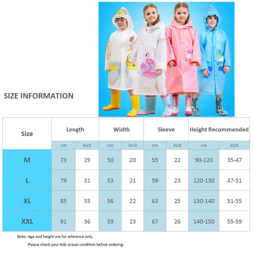 Kids Rain Coat Inflatable Hooded Rainproof Cape Waterproof Jacket Boys Girls Poncho Reusable Rainwear Pink Unicorn