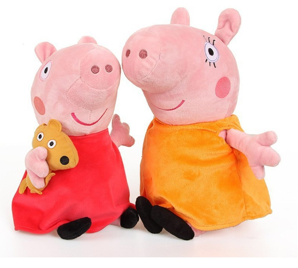 Peppa Pig Set of Four Cute Plush Family Members Peppa Pig And George Pig are 17cm Tall Super Soft and Cuddly with Computerised Embroidery Details To The Face Making Them Just Like The Cartoon Characters. Daddy Pig and Mummy Pig are 28cm Tall