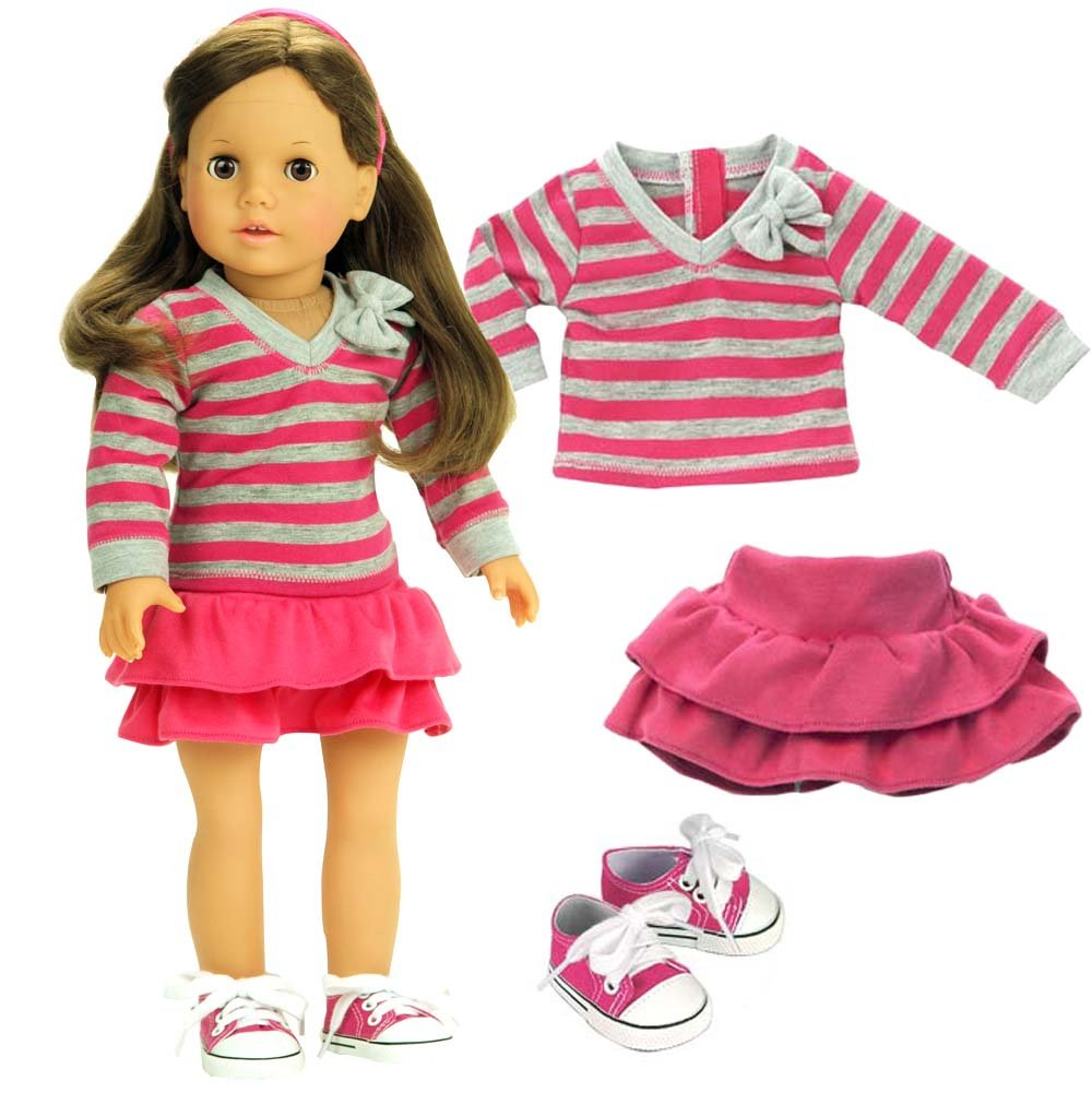 Doll Clothes 18 Inch Size Fits American Girl Dolls 3 Pc Set Pink Gray Striped Shirt Pink Skirt Doll Sneakers
