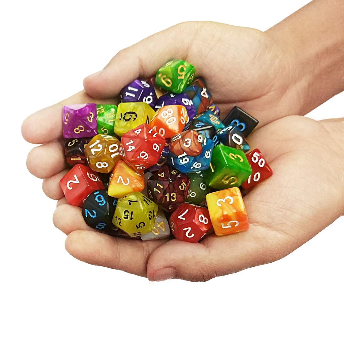 QMAY DND Dice Set, 140PCS Polyhedral Game Dice, 20 Color Double-Colors DND Dice Role Playing Dice for Dungeon and Dragons DND RPG MTG Table Games Dice D4 D8 D10 D12 D20 by QMAY (Image #6)