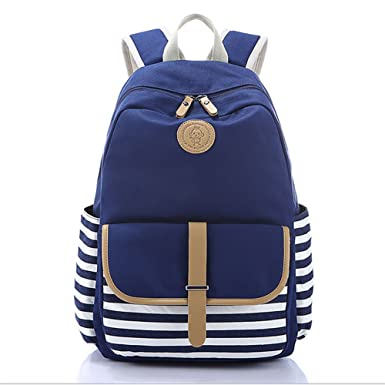 0a4134bd4bfd Image Unavailable. Image not available for. Color  Casual Style Striped School  Bag Backpack Canvas ...