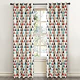 Dreaming Casa Room Darkening Grommet Top Window Treatment 63 Inches Long Printed Blackout Curtains Draperies for Bedroom Living Room 2 Panels / Abstract Triangle Red 100'' W x 63'' L