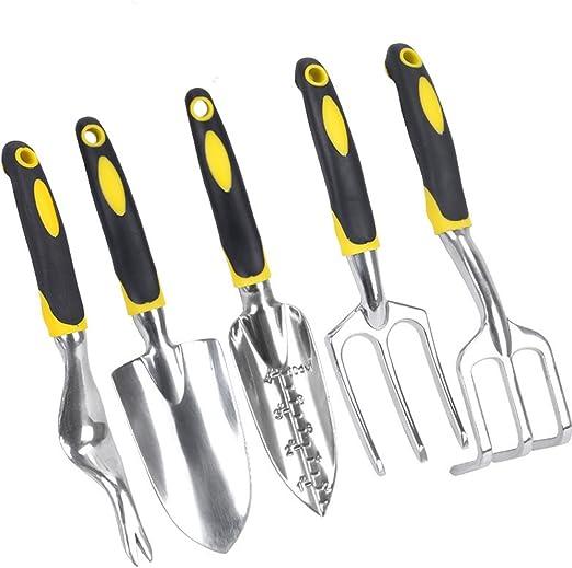 cukke 5 pcs herramientas de jardín Set Herramientas de hardware hogar herramientas de jardinería de herramientas de jardín, mango de silicona de aleación de aluminio: Amazon.es: Jardín
