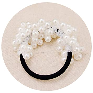 For Ladies Sweet Hair Band Hair Rope Hair Accessories Hair Jewelry White Pearl