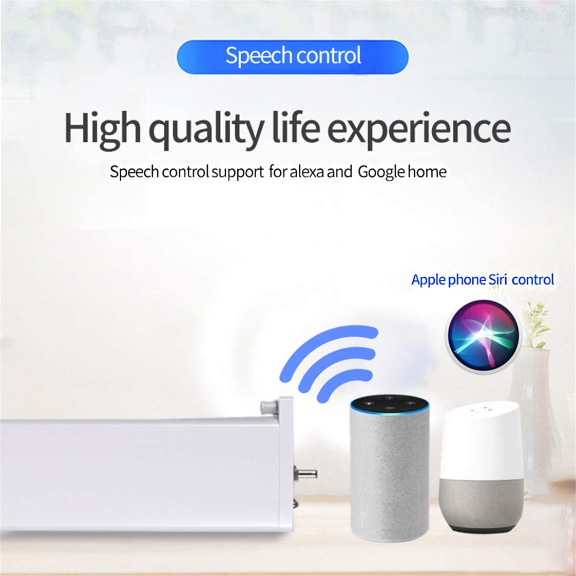 Newgoal Motor de Cortina WiFi con Motor de persiana Inteligente Google Home y Apple Siri Compatible con Alexa