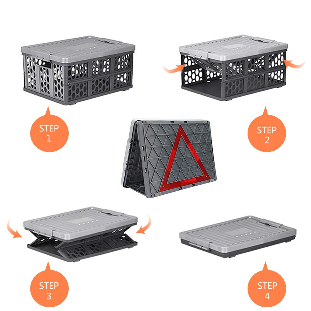 SUPOW Collapsible Car Trunk Organizer and Storage Bin Storage Box with Waterproof Bag and Road Safety Warning Triangle Kit Perfect for Auto Travel and Camp