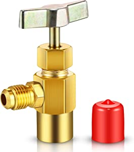 Mudder R134A Refrigerant Opening Valve 8401 Metal Brass Can Tap Refrigerant Dispenser Valve 1/2-16 Inch Acme Threads 1/4 SAE Valve Tool Bottle Opener (1 Pack)