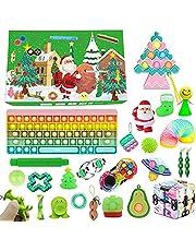 Fidget leksak adventskalender 2021 jul nedräkningskalender, pop bubbla stress ångestlindring fidget leksakspaket, jul överraskning gåva party gåva för pojkar flickor (A-03, en storlek)