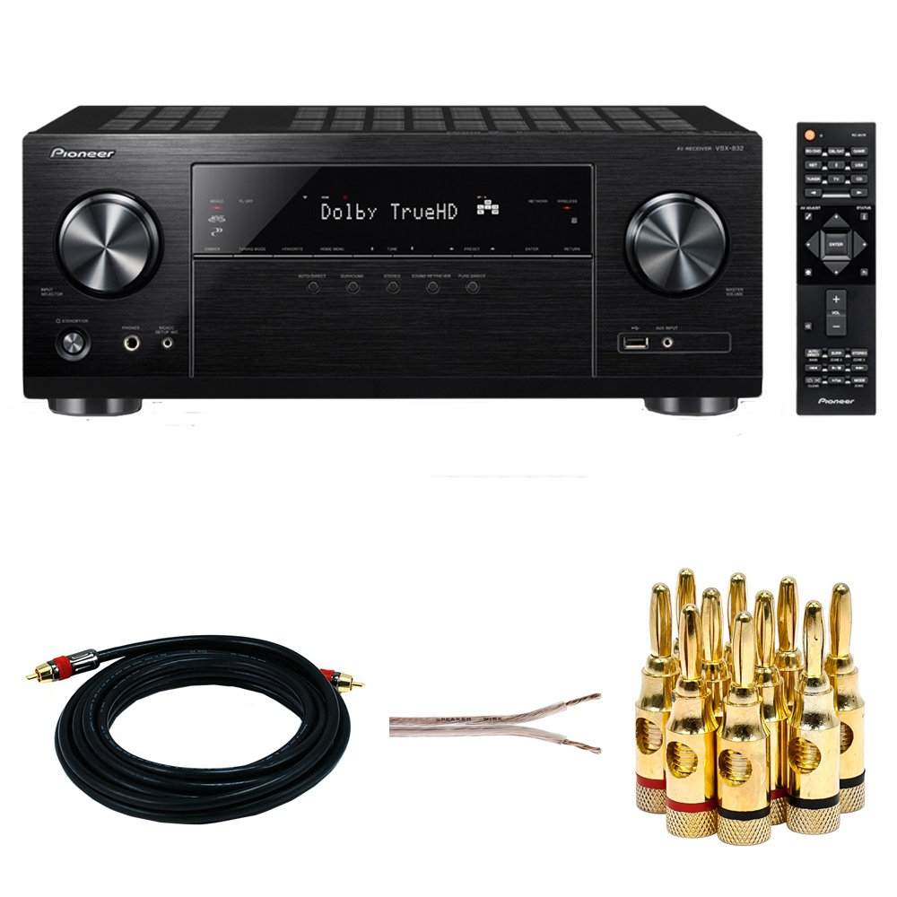 Pioneer VSX-832 5.1-Channel Network AV Receiver w/Ultra HD Pass-through w/HDCP 2.2 + 15ft Coaxial A/V RCA CL2 Rated Cable + 16 AWG Speaker Wire 100ft + Banana Plugs 5-Pair (Open Screw)
