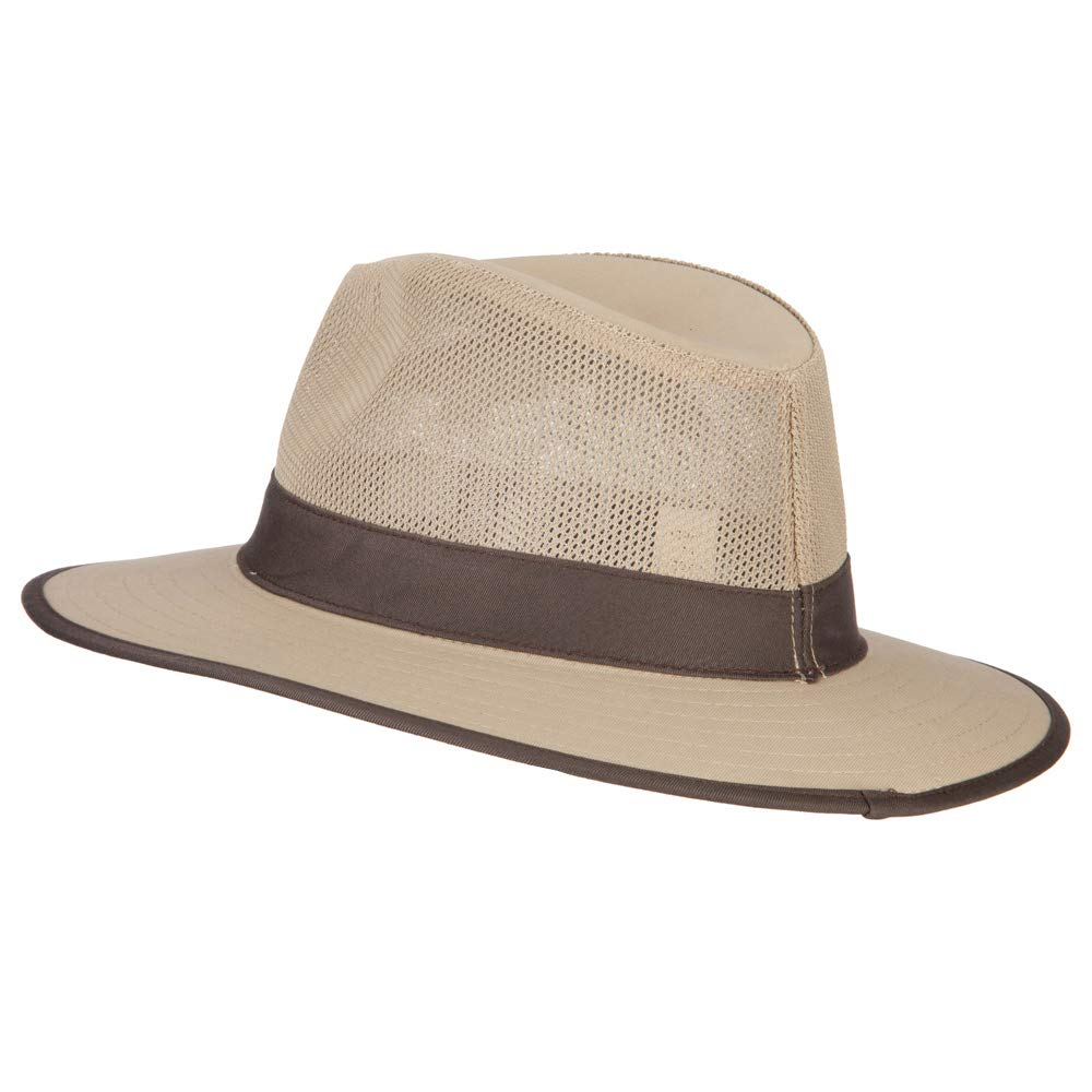 e4Hats.com Mens Cotton Canvas Open Mesh Fedora Hat
