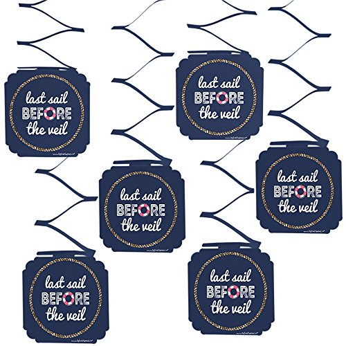 Big Dot of Happiness Last Sail Before The Veil - Nautical Bridal Shower & Bachelorette Party Hanging Decorations - 6 Count