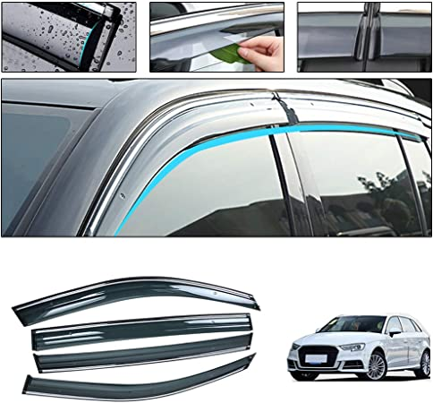muchkey Wind Visor for Audi A3 Hatchback 2010 2011 2012 2013 Car Sun Rain Guard Wind Deflectors 4-Piece Set