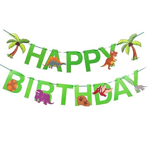 STOBOK Dinosaurio Feliz cumpleaños Banner Animal Fiesta de cumpleaños Banner para niños pequeños