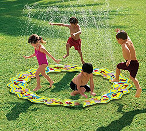 Inflatable Portable Splash Pad toys – anthonygift 66in cartoon spray water sprinkler ring toys for summer outdoor swimming beach lawn sprinkler party children kids ()