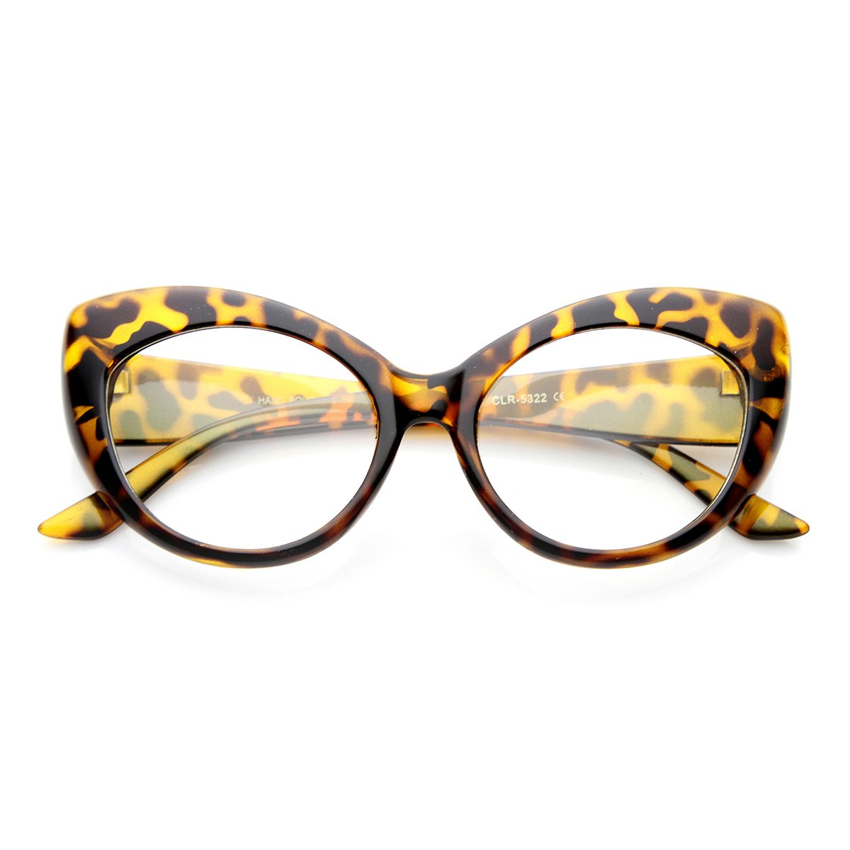 811c7bc284ed Amazon.com  zeroUV - Mod Pointed Cat Eye Clear Fashion Frame Glasses (Cheetah  Clear)  Clothing