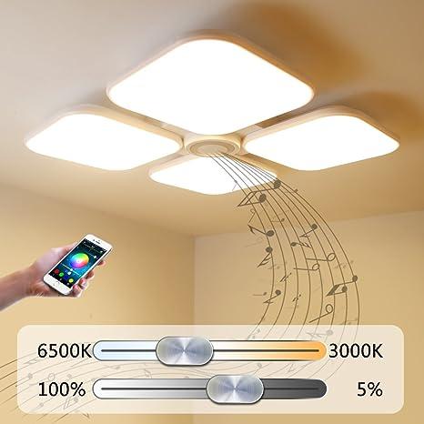 72W Llevó La Lámpara Del Techo Del Bluetooth Luces De Techo Modernas Iluminación Regulable Con Cocina Altavoz Bluetooth Inteligente Habitación ...