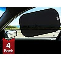 Timotech parasol negro para auto, protección de rayos UV, para todo tipo de auto, contra el calor y el deslumbramiento (Set de 4 piezas)