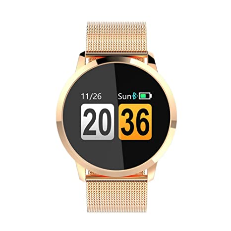 Newwear Q8 Smart Watch IP67 Waterproof Sport Fitness Bracelet Wearable Devices Electronic Smartwatch Message Reminder Pedometer (Gold)