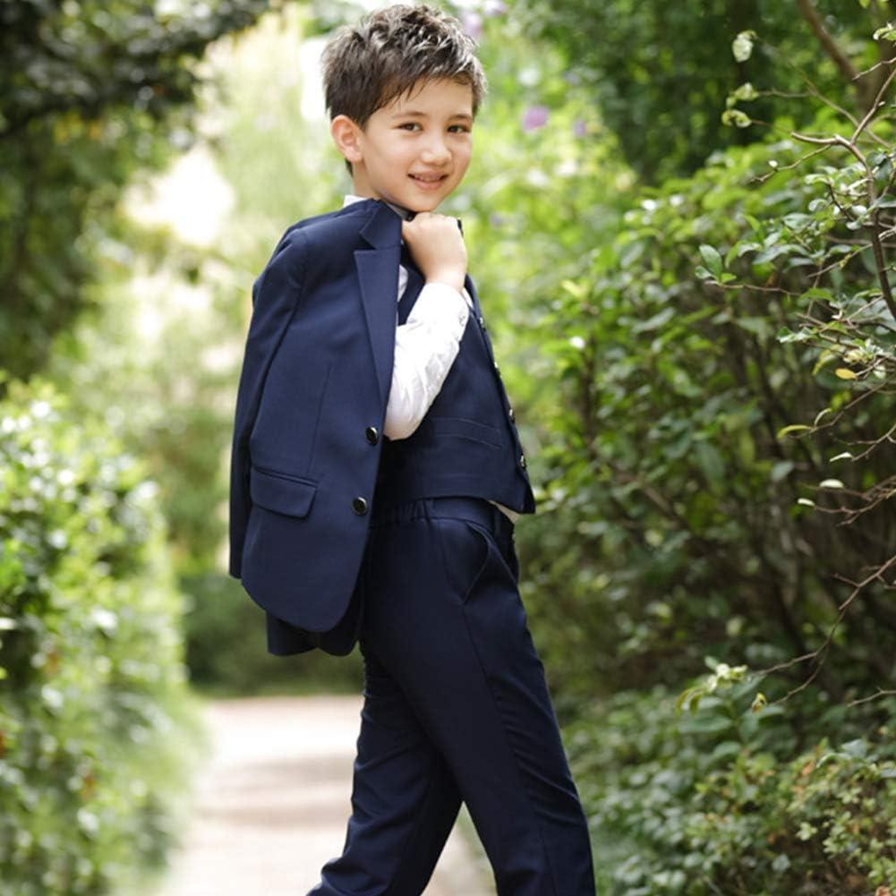 OwlFay Boys Formal 4pcs Suit Set with Blazer Shirt Pants Bow Tie for Wedding Tuxedo