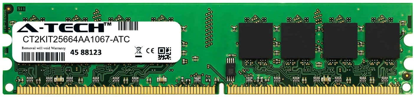 A-Tech 2GB Replacement for Crucial CT2KIT25664AA1067 - DDR2 1066MHz PC2-8500 Non ECC DIMM 1.8v - Single Desktop & Workstation Memory Ram Stick (CT2KIT25664AA1067-ATC)