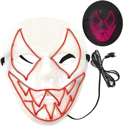 Maschera a LED con 3 modalit/à Flash per la Decorazione Cosplay di Halloween Carnival Carnival Party Costume