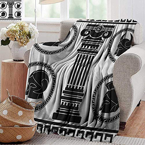 Weighted blanket for kids,Toga Party,Patterned Circular Frames with Antique Accessories Spartan Classic Costume, Black and White,Weighted Blanket for Adults Kids, Better Deeper Sleep 60