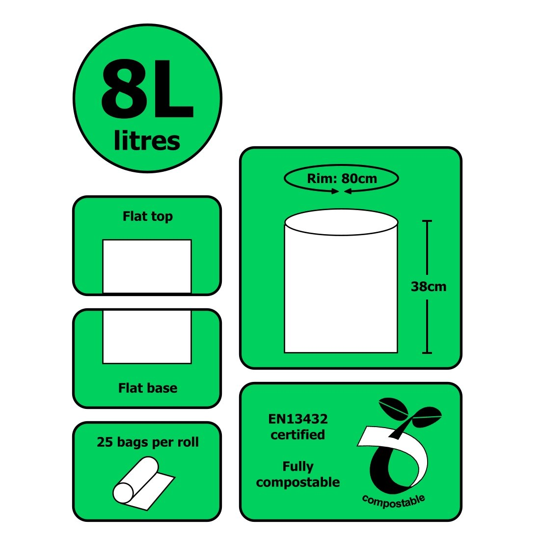 100 Sacchetti All-Green Sacchetti compostabili BioBag 8 litri per pattumiere da Cucina Caddy