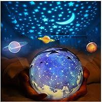Roterend ster nachtlampje, kindersterprojector kwekerij planeetlampen, maan zonne-vorm oceaan aarde lichten voor baby…