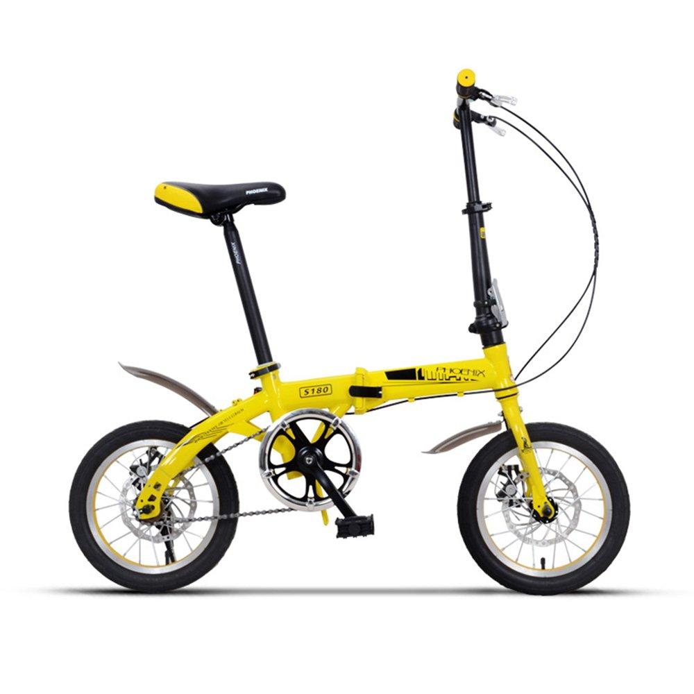 PJ 自転車 折りたたみ自転車サドル635ミリメートル14インチ6歳の少女少年学生 子供と幼児に適しています ( 色 : Yellow -14 inch ) B07CR4PFKVYellow -14 inch