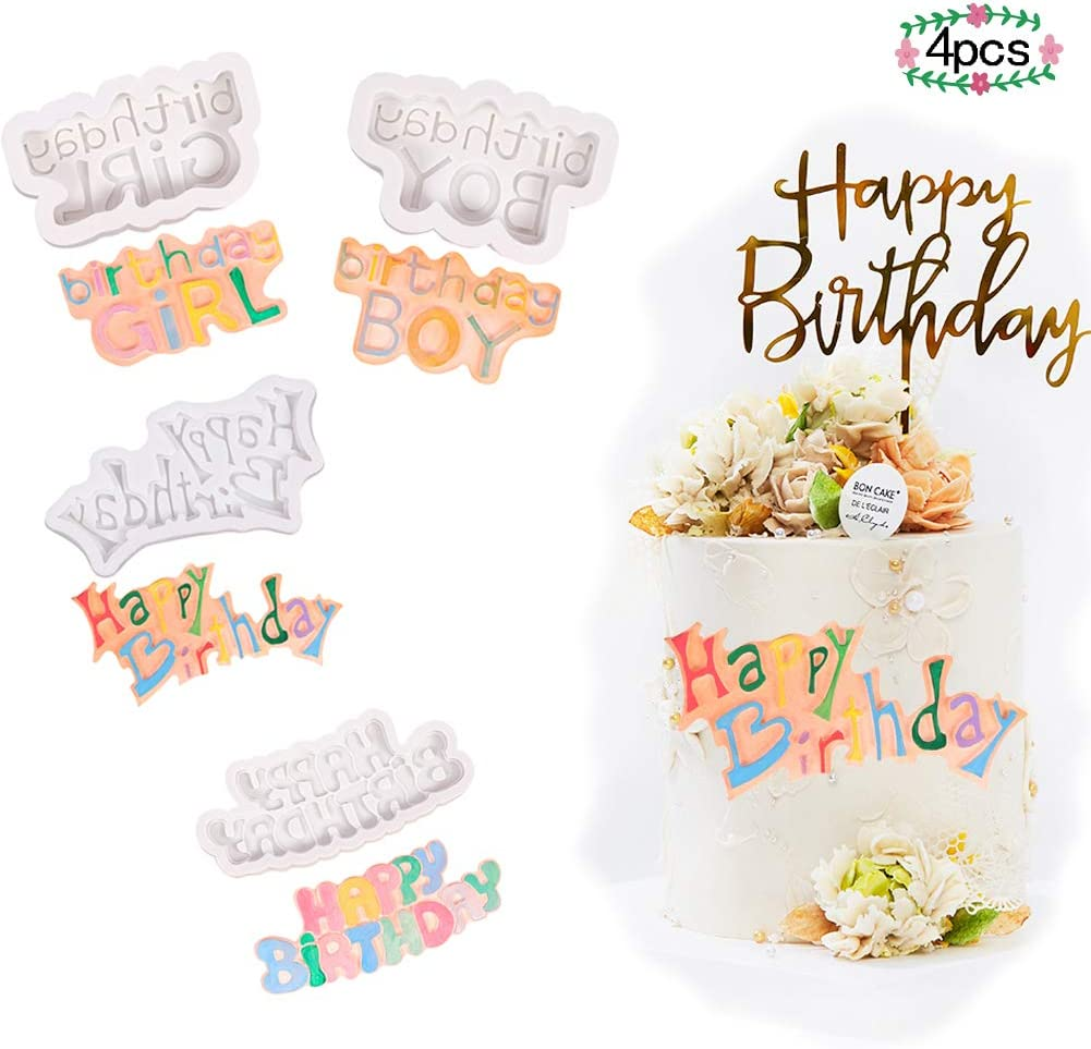 HEYANG 4 PCS Happy Birthday Silicone Molds, Birthday Cake Making Moulds for Boys and Girls, DIY Silicone Fondant Molds, Pop Cake Mold