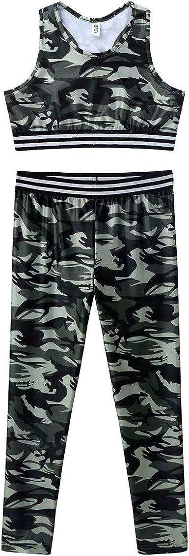 JEEYJOO Kids Girls 2Pcs Digital Printed Sportswear Crop Tops and Pants Set for Workout Dancing Gymnastics