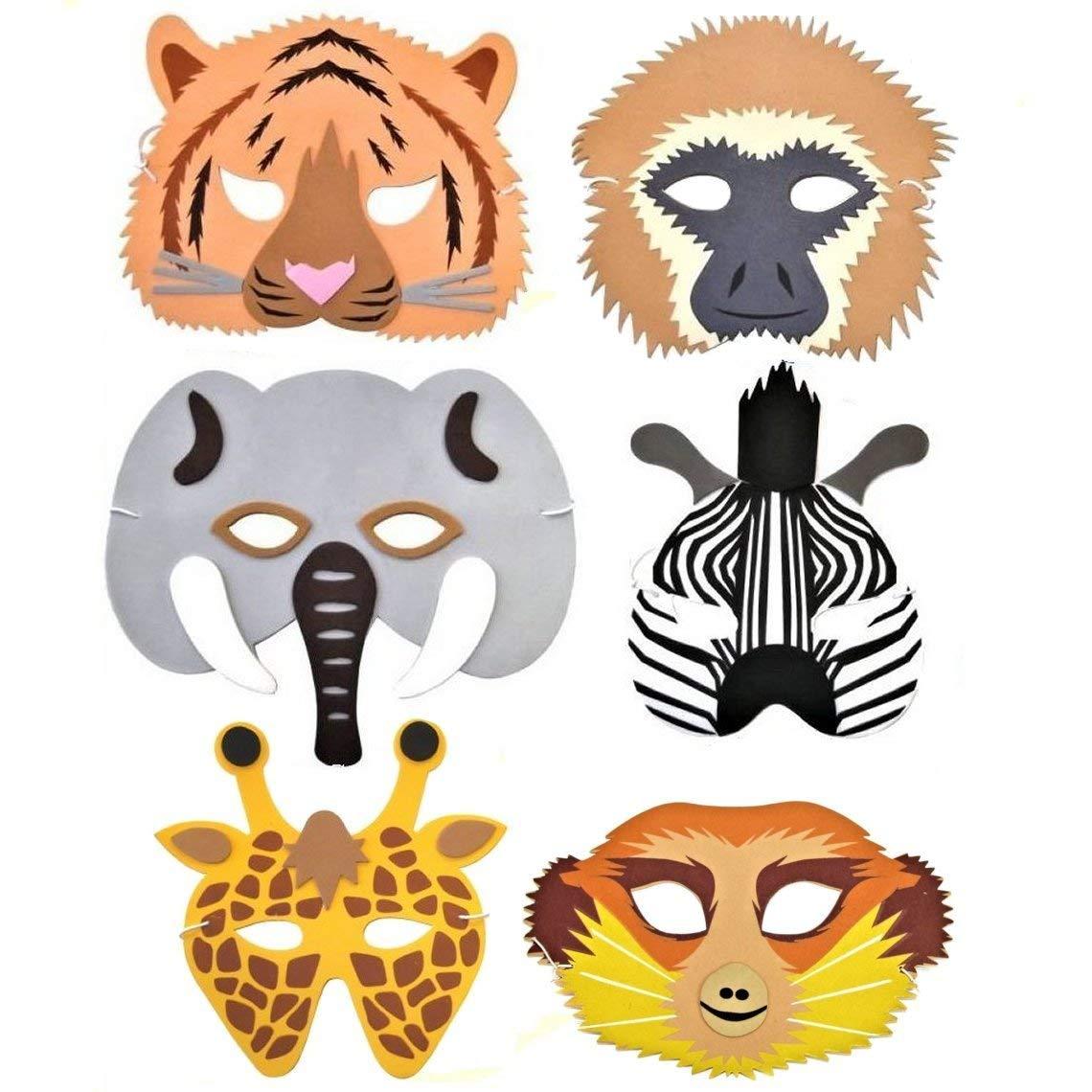 Regenwald-//Safari-//Dschungelmasken aus Schaumstoff Tiermotive hergestellt von Blue Frog Toys