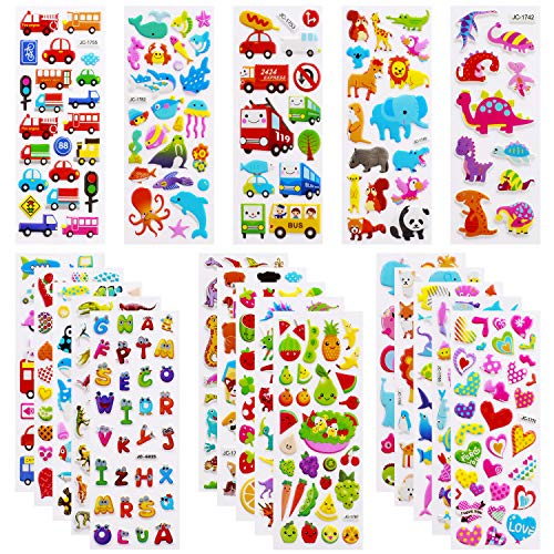 3D Stickers for Kids Toddlers Vivid Puffy Kids Stickers 24 Diffrent Sheets Over 550, Colored 3D Stickers for Boys Girls Teachers as Reward,, Craft Scrapbooking