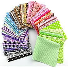 60 Pcs Assorted Craft Fabric Bundle Squares Patchwork Fabric Sets for DIY Sewing Scrapbooking Quilting Dot Pattern