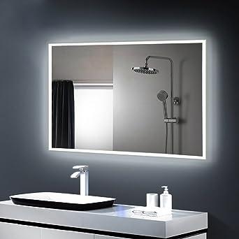 Anten® Miroir LED Lampe de Miroir Éclairage Salle de Bain Miroir Lumineux  Solide de Verre Trempé (19W/800 * 600MM/Blanc froid 6000K)