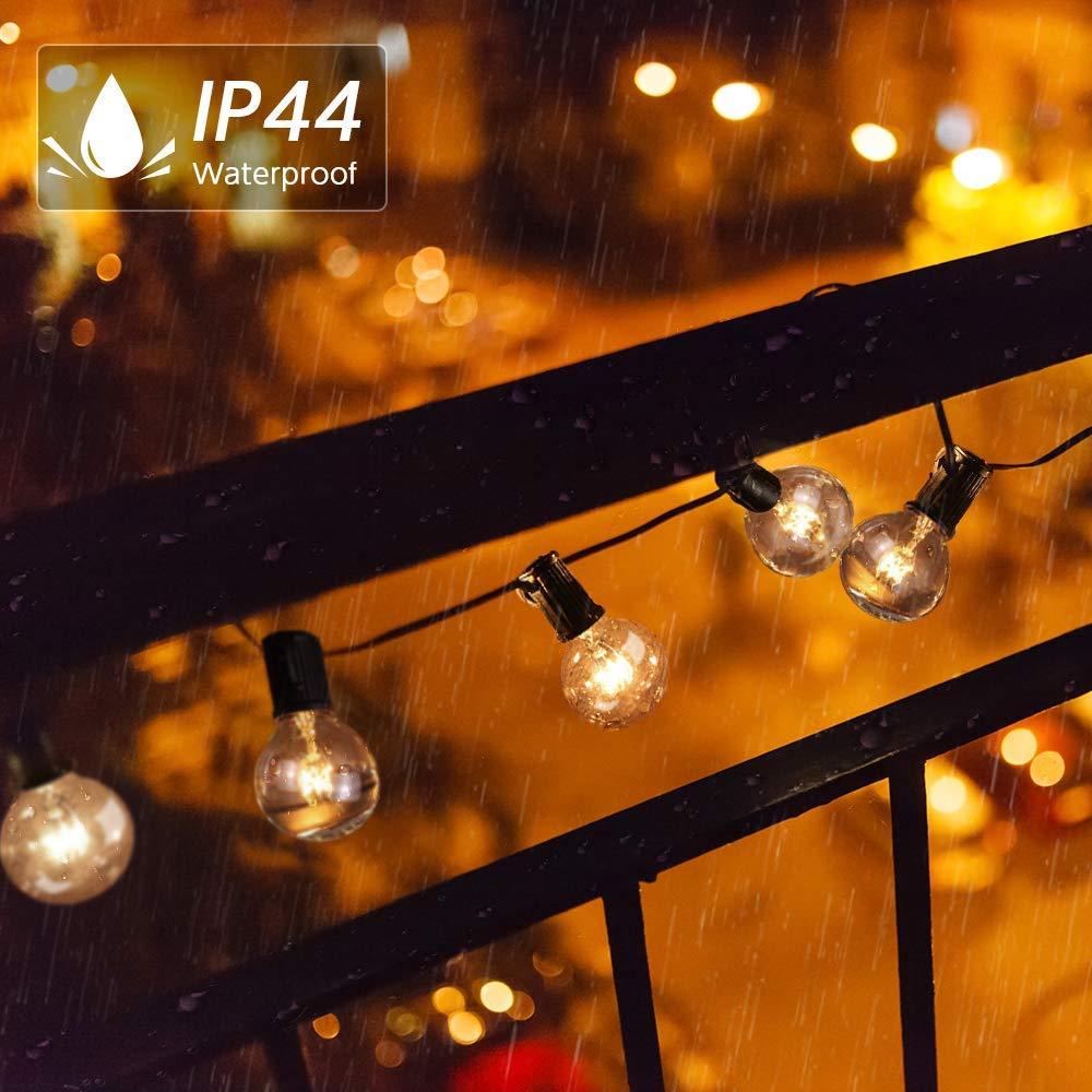 Energieklasse A+ Lichterkette Au/ßen Qomolo Lichterkette Gl/ühbirnen Aussen G40 40er Birnen Garten Beleuchtung f/ür Innen und Drau/ßen mit Ersatzbirnen 12.8 Meter Warmwei/ß